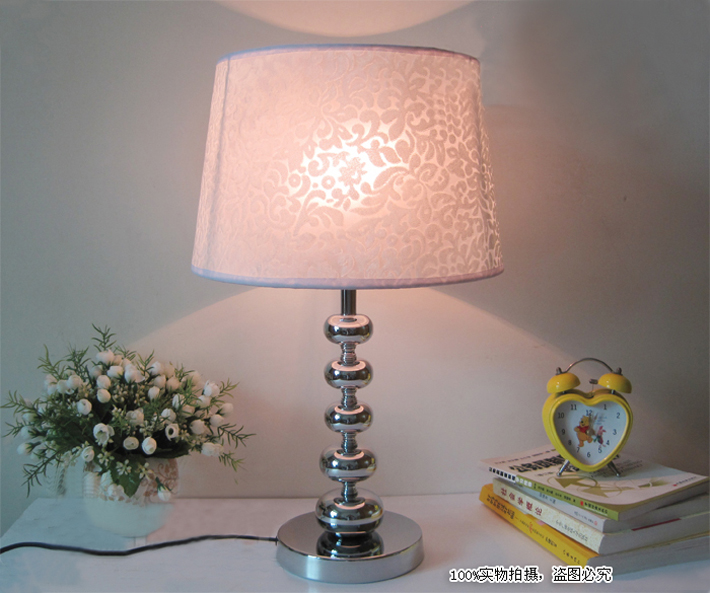 Outlet PVC Film White Printed Bedside Table Lamps at Discount Prices