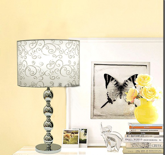 White Art Printed Chrome Table Lamps
