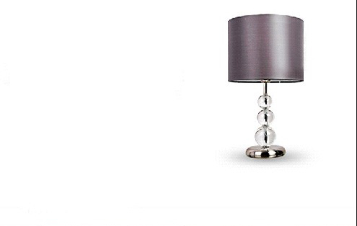 Gray Cotton Three Crystal Balls Chrome Table Lamps