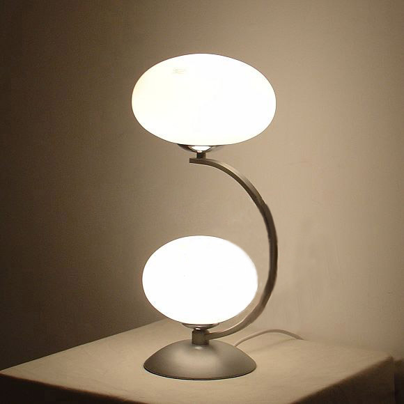 Outlet 2-Light Glass Table Lamp Chrome