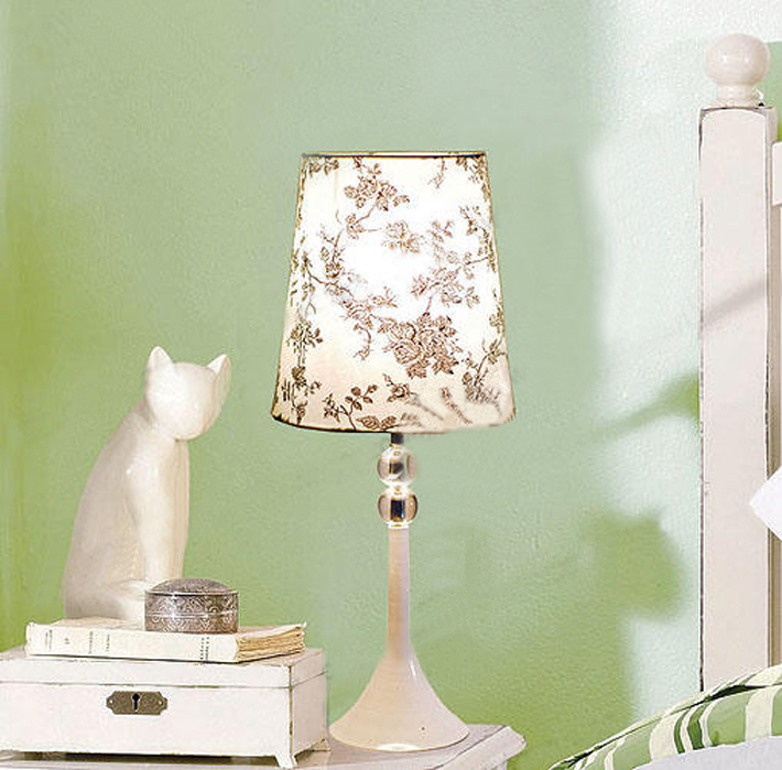 Modern White Art Printed Clear Crystal Table Lamps