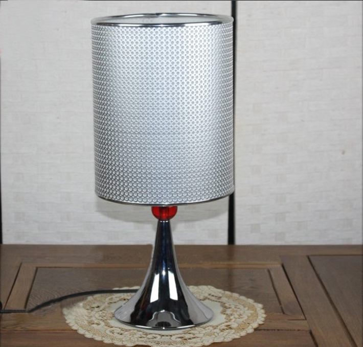 Chrome Table Lamp with Red Acrylic Balls and Flared base