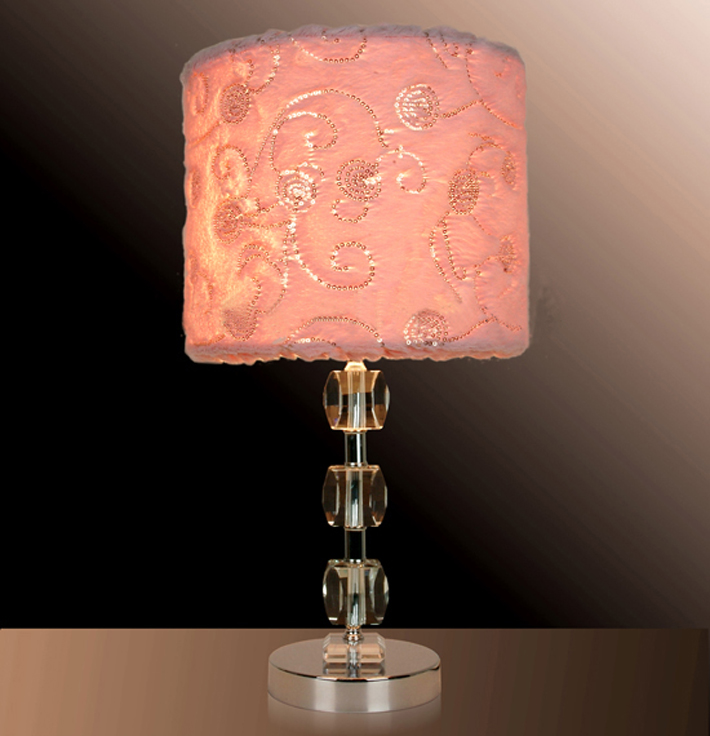 Wholesale Offwhite French Drawing Cylinder Cover K9 Crystal Table Lamp