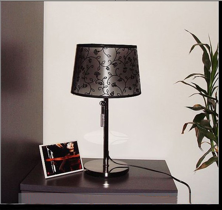 Black PVC Printed Modern Table Lamp Chrome