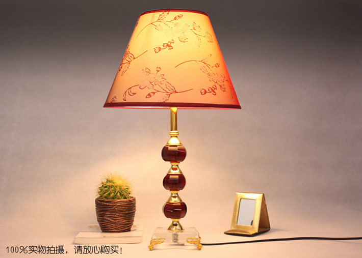 Modern Floral Printed Red Crystal Bedside Table Lamps - Click Image to Close