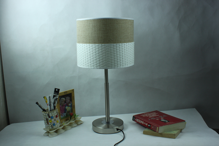 Light Gray Adjustable Table Lamp Chrome Base of Idyllic Style - Click Image to Close