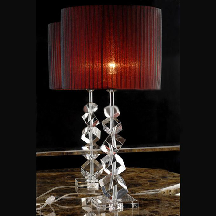 Offwhite French Drawing Cylinder Cover K9 Crystal Table Lamp