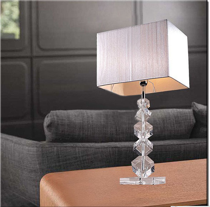 French Drawing Square K9 Crystal Table Lamp