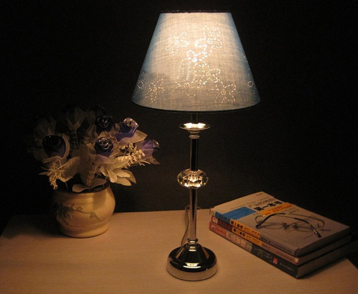 Floral Printed Crystal Chrome Modern Table Lamps