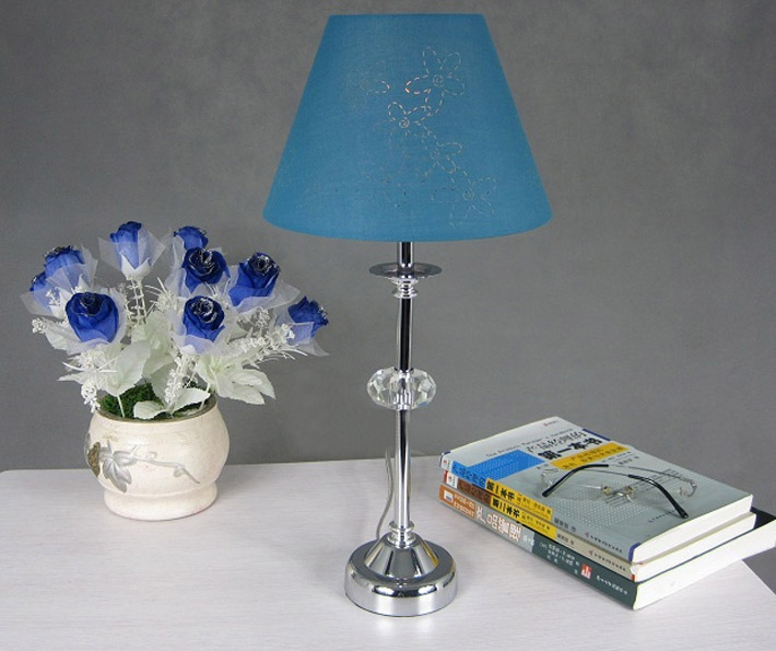 Blue Floral Crystal Chrome Living Room Table Lamps Outlet