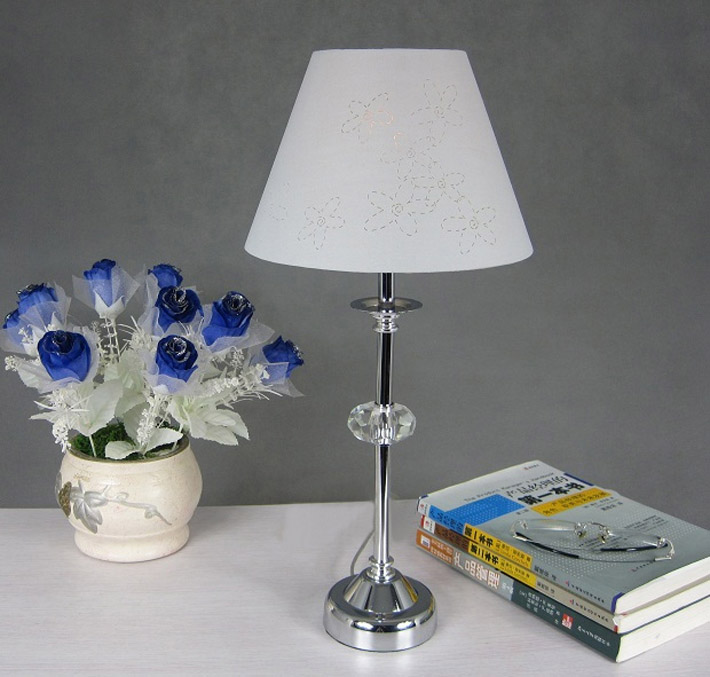 White Floral Crystal Chrome Bedroom Table Lamp