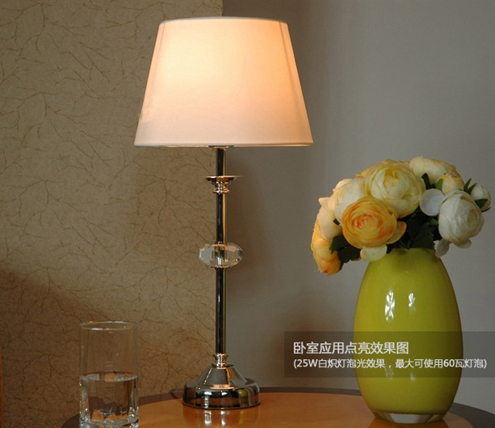 Solid Color Clear Crystal Modern Table Lamp Chrome