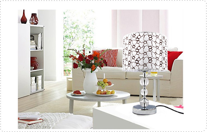 White Art Printed K9 Crystal Chrome Table Lamps