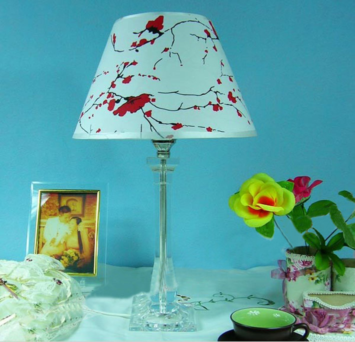 Floral Printed Transparent Acrylic Bedside Table Lamps