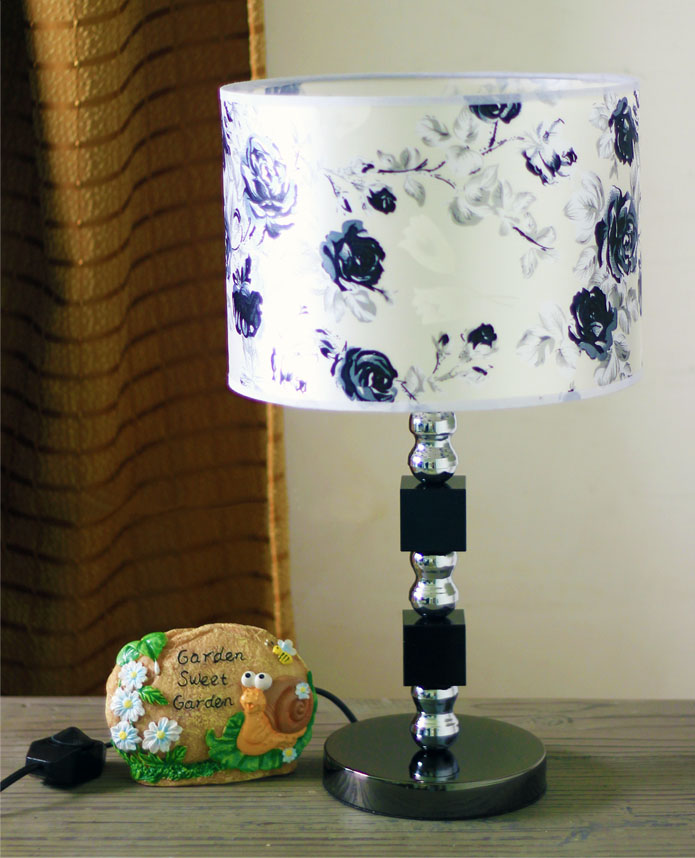 Flame-Retarding PVC K9 Crystal Chrome Table Lamp - Click Image to Close