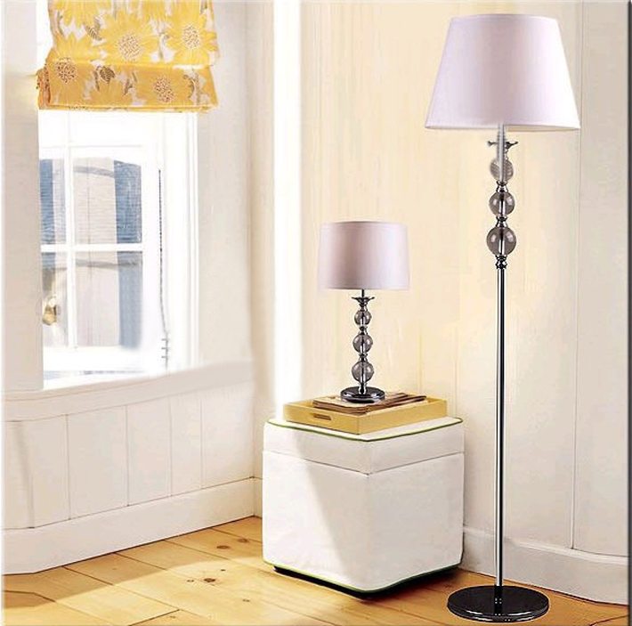 White Cyan Crytals Chrome Bedside Table Lamps