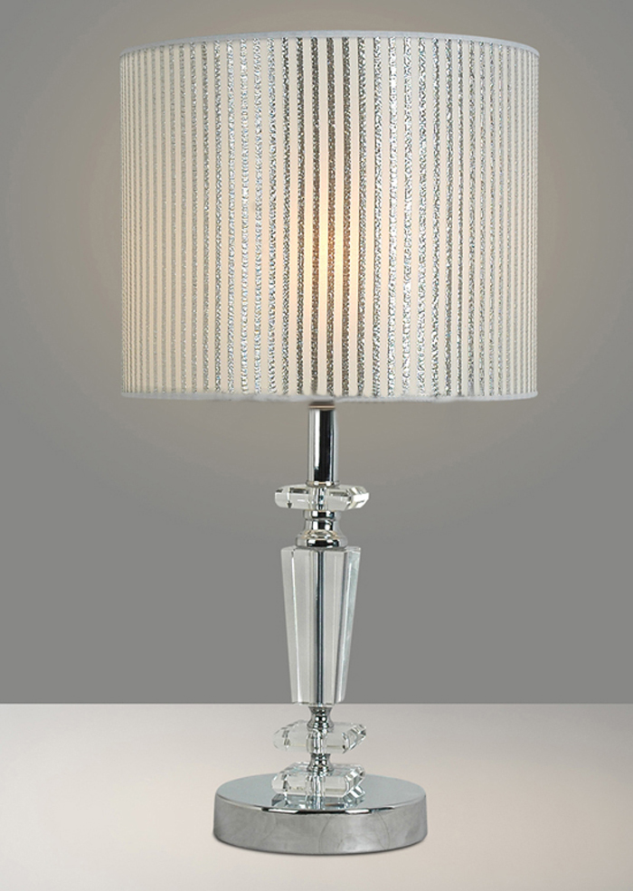 Offwhite Streak Cloth Art Transparent K9 Crystals Contemporary Table Lamps