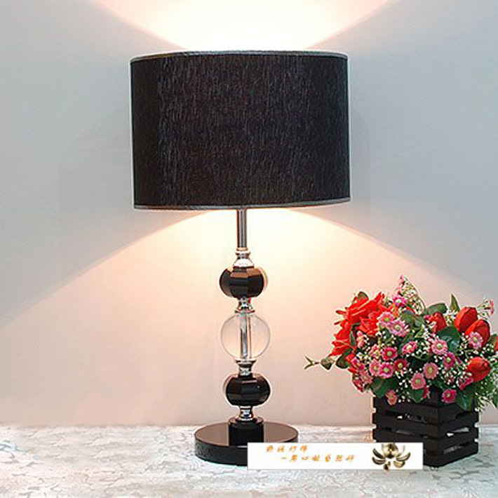 Superb Black Cloth Art K9 Crystal Chrome Table Lamps with Discounts
