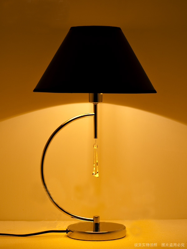 Black Modern Table Lamps with Glass Pendant, Chrome Table Lamps