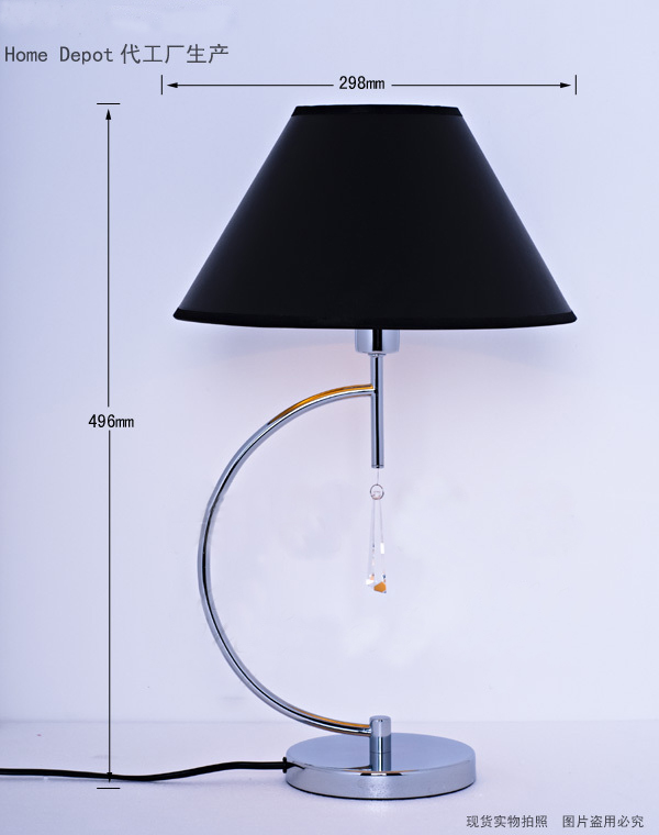 Black Modern Table Lamps with Glass Pendant, Chrome Table Lamps - Click Image to Close