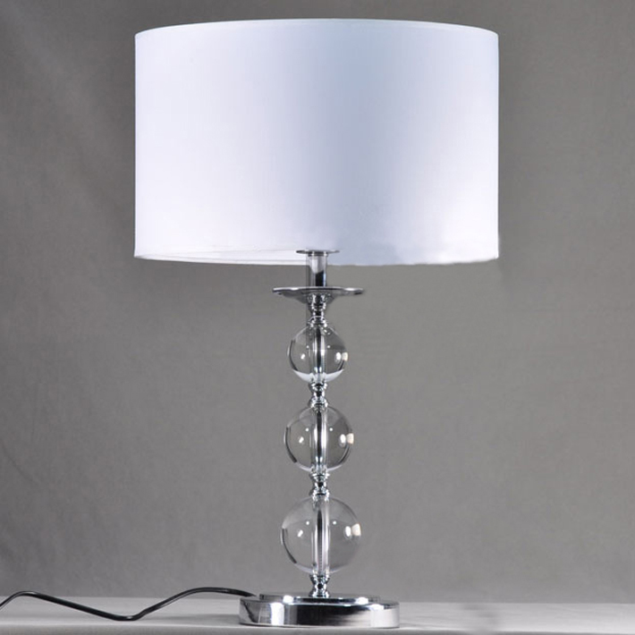 White PVC Affixed Cloth Table Lamp with K9 Crystal Balls Decoration