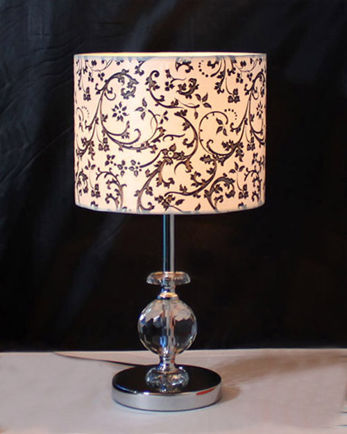 Floral Printed Cloth Art K9 Crystal Chrome Table Lamps