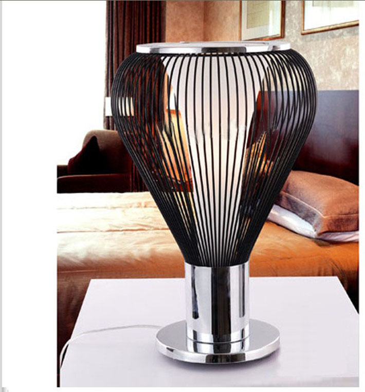 White Wire Table Lamp Chrome, Black Table Lamp