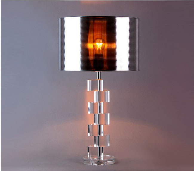 Silver PS Cover Clear Cystal Table Lamps