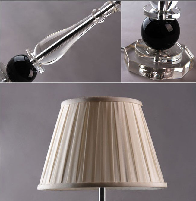 White Edge Floded Cover K9 Crystal Modern Table Lamps