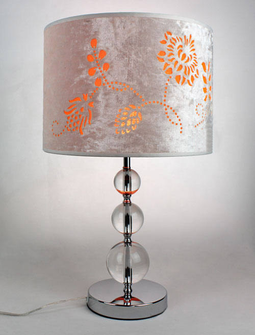 Floria Printed Cloth Art Cover Transparent K9 Crystal Table Lamp Chrome