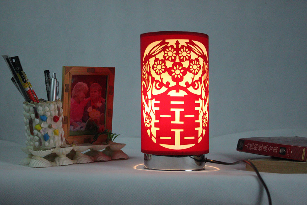 Red Carved Lamp Cylindrical Traditional Table Lamps