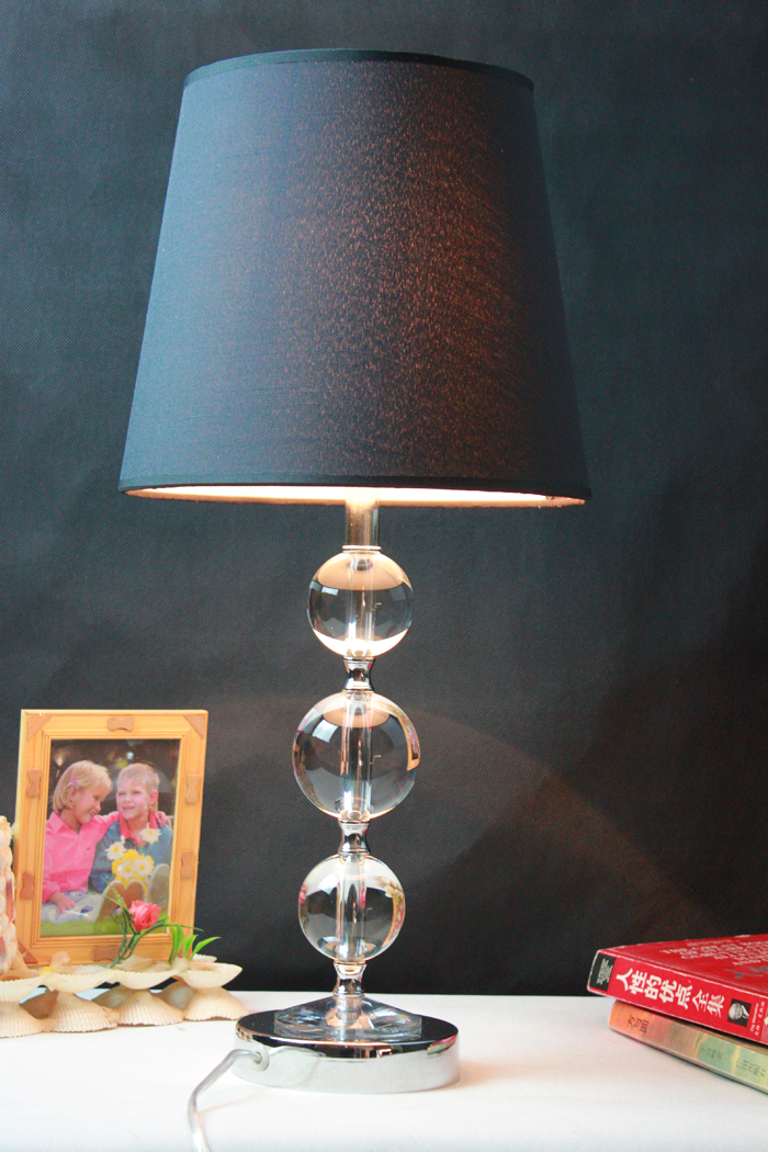 Delicate Black Cloth Art Transparent K9 Crystal Ball Chrome Table Lamps