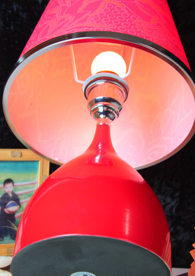 Red Printed Cloth Art Bedside Table Lamps