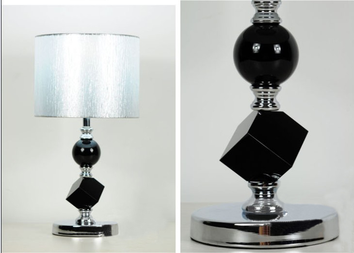 Silver Drawing Black K9 Crystal Chrome Table Lamps