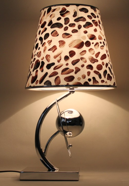 Colorful Printed Cloth Art Cover Chrome-Plated Modern Table Lamp