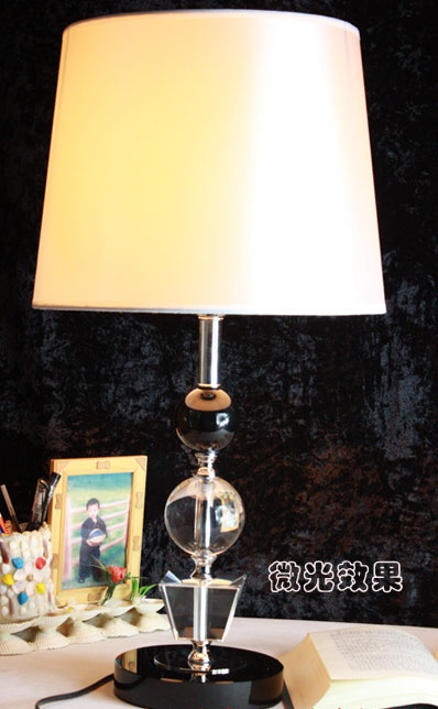 High Quality White Cloth Art K9 Crystal Bedside Table Lamps