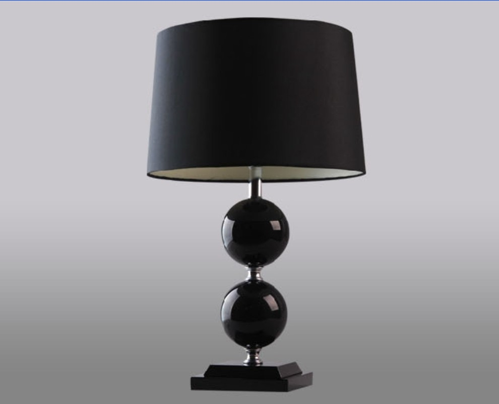 Graceful Black Cloth Art Black K9 Crystal Table Lamps