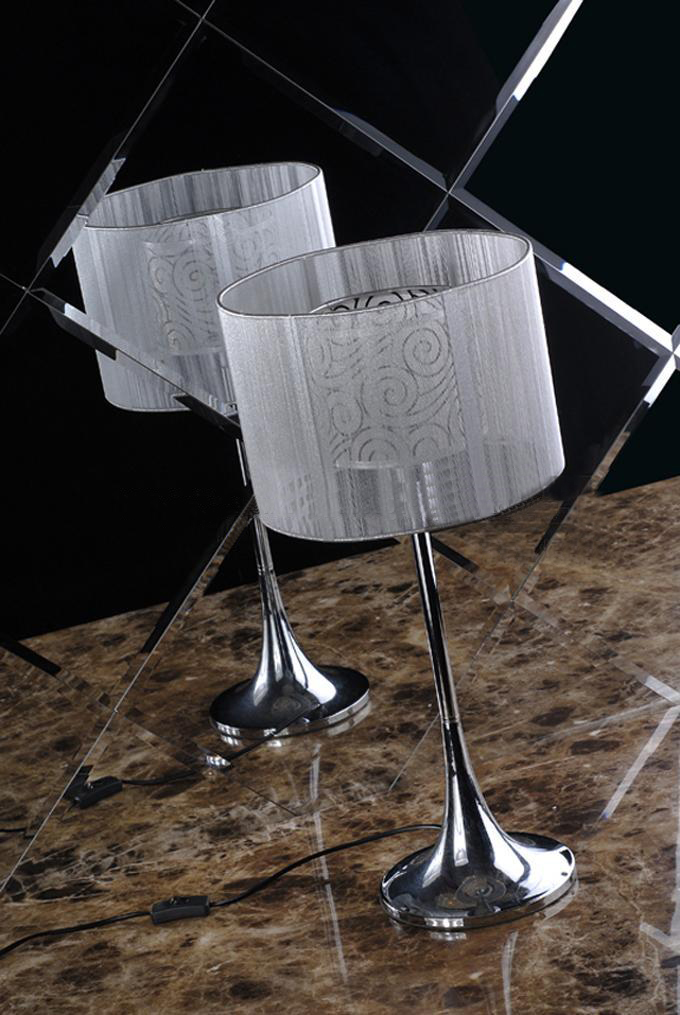 Wire Drawing Chrome-Plated Modern Table Lamps