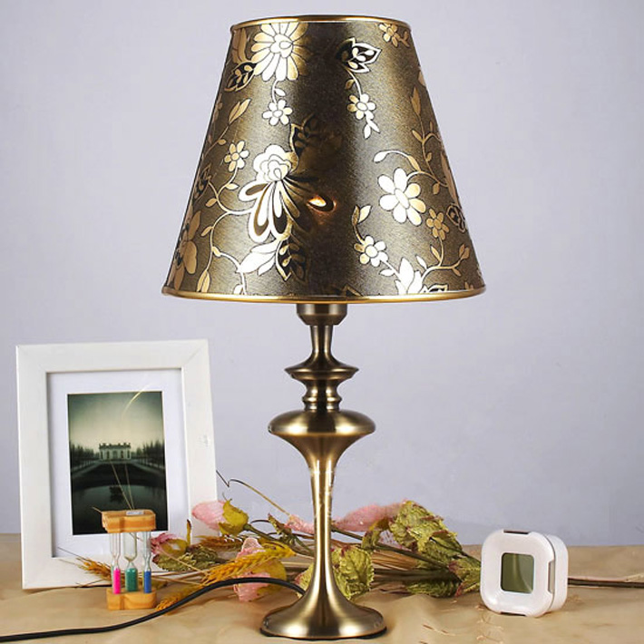 Printed Cloth Art Brass Table Lamps