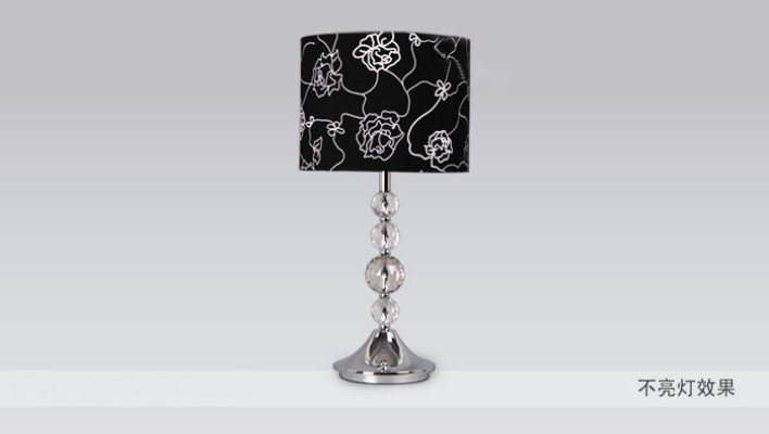 Black Floria Printed Transparent Crystal Chrome Table Lamps