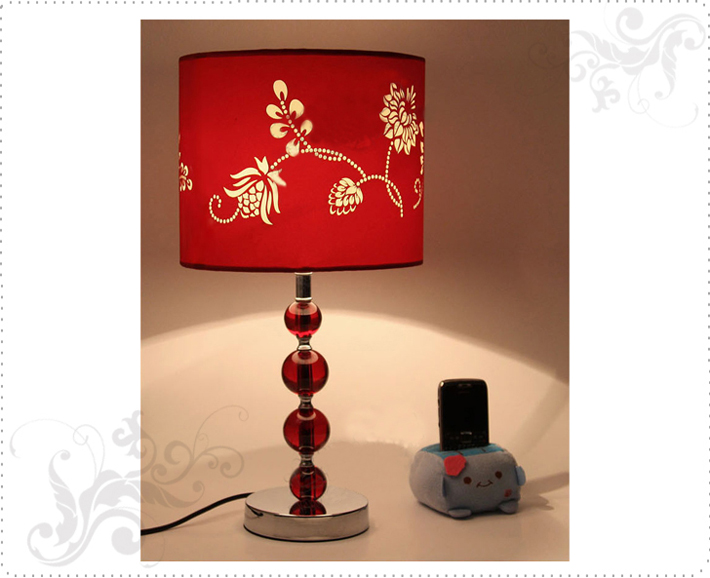 Wholesale Discount Red Floria Printed Red Crystal Balls Table Lamp