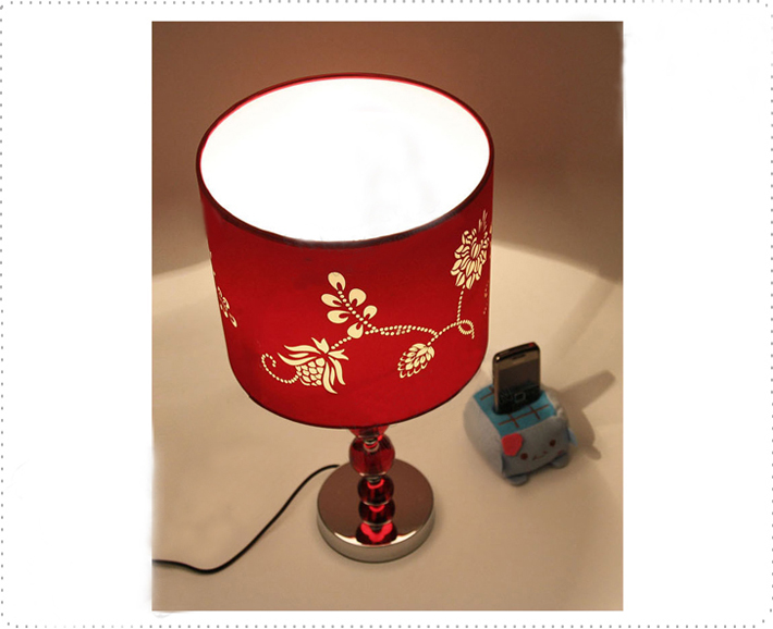 Discount Red Floria Printed Red Crystal Balls Table Lamp