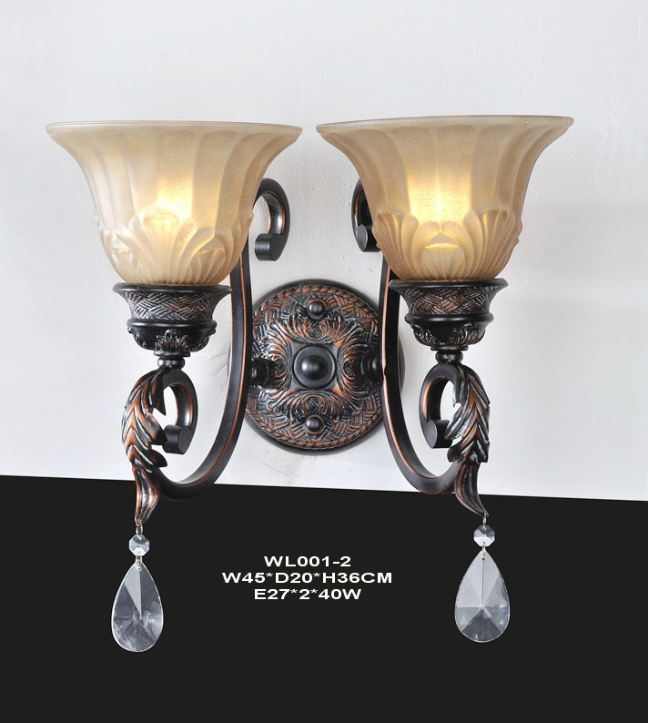 2-Light Antique Copper European Wall Lamps