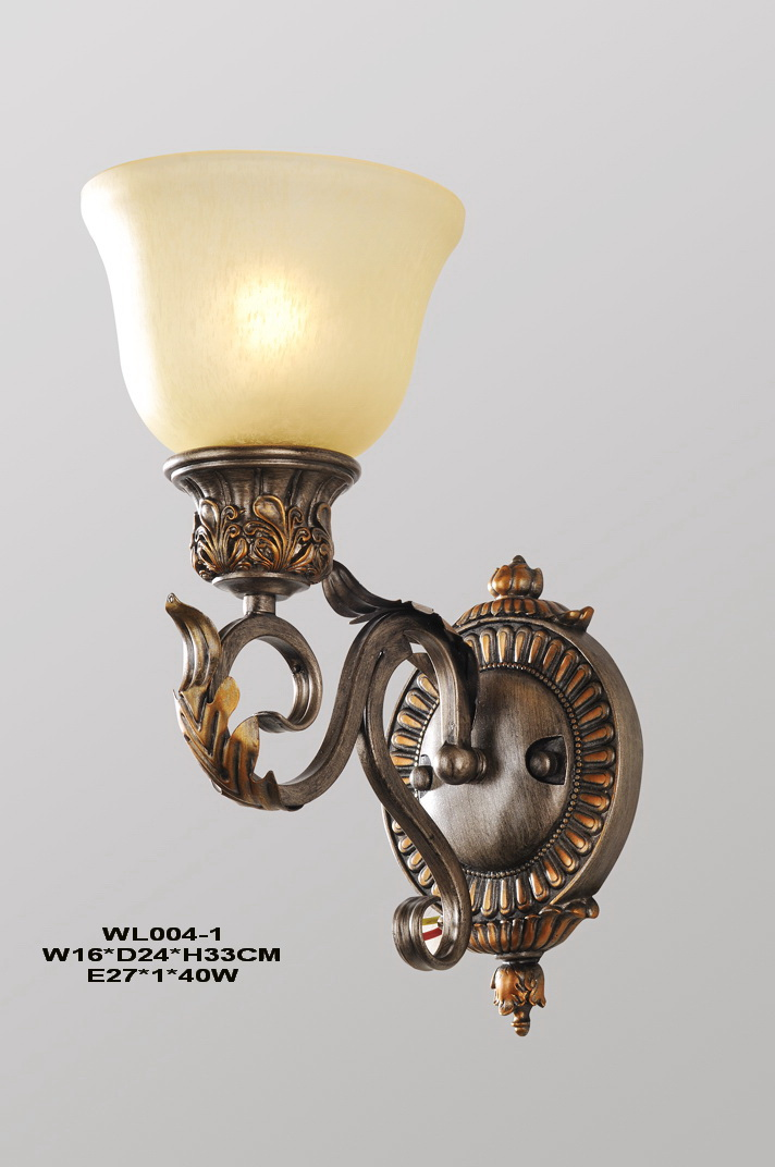 1-Light Frost Glass Cover Antique Bronze Metal Body Wall Lamps