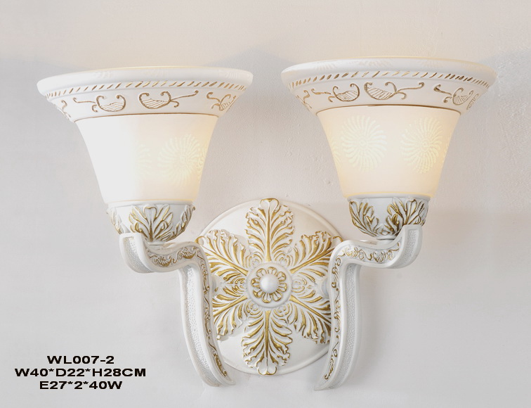 Outlet 2-Light White with Gold Metal European Wall Lamps