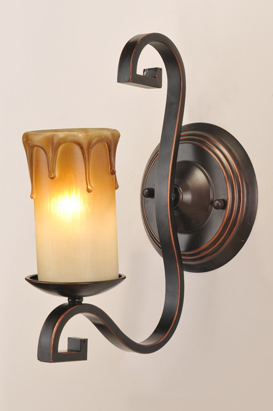 Faux Candle 1-Light Black with Copper Wall Lamps