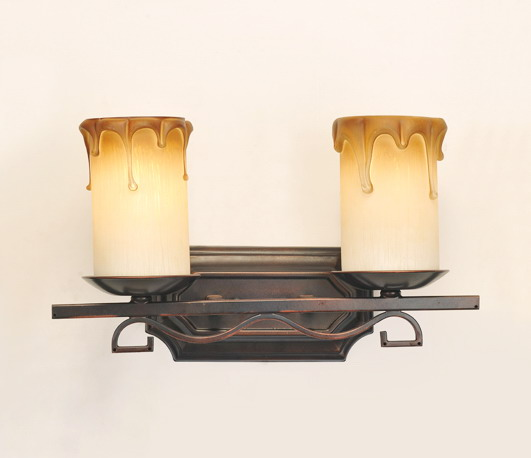 Fake Candle Wall Lights : 1-Light Petunia-Like Cover Rust Metal Body European Wall Lamps for Sale