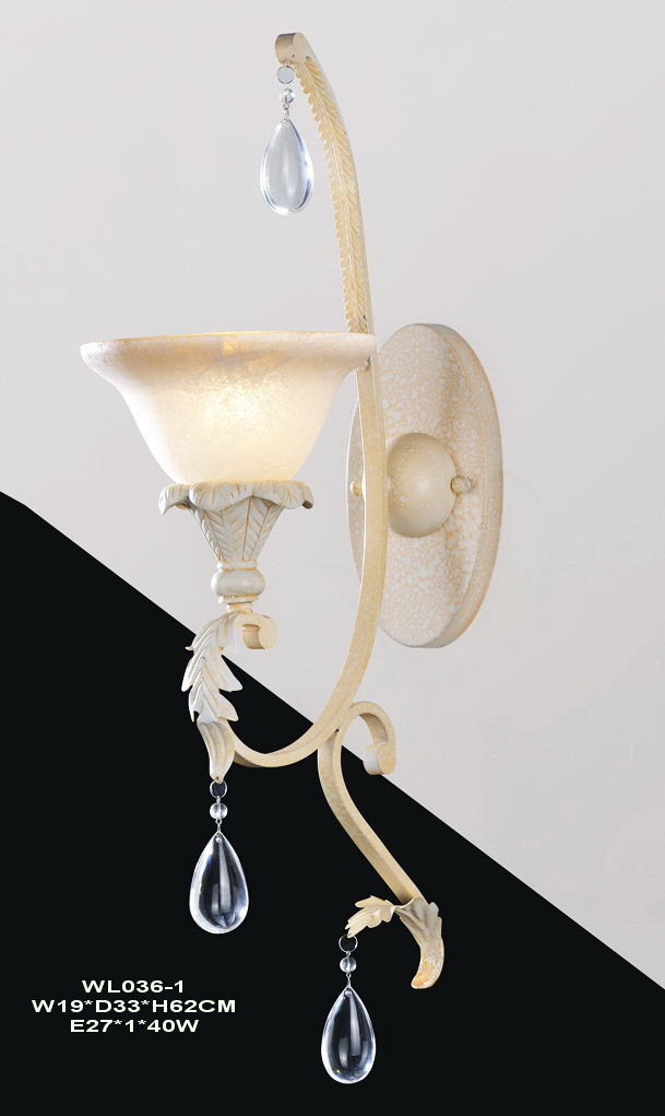 Supply 1-Light Rust Ivory Antique Wall Lamps with Cyral Crystal Pendant