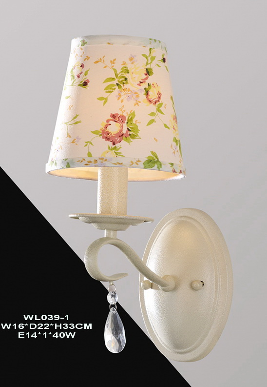 Colorful Floral Printed Cloth Art Cover White Metal Wall Lamps