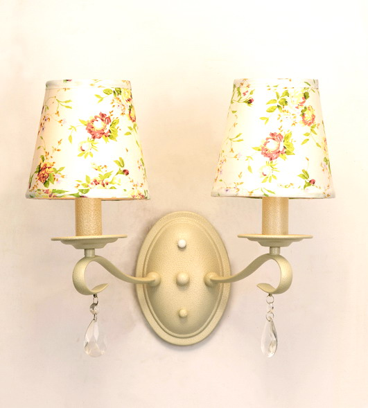 2-Light Colorful Floral Printed Cover White Metal Modern Wall Lamps
